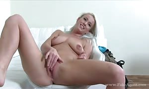voluptuous huge chested female with tanned skin nails with faux Agent