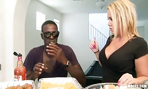 insane turned on blonde with gigantic natural hooters Tara legendary person pounds young black dude