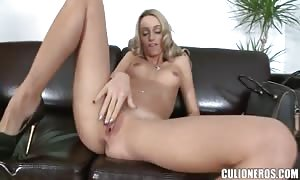 Tall skinny Erica Fontes jacking off and throating