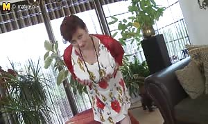 hot huge titted old woman playing with her vag