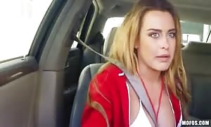 big titted lady is rammed into her mouth and vagina in the car