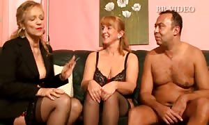 Two fat lady german old women in attractive underwear munches one lucky pecker