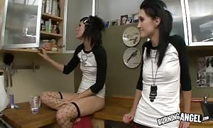 sexy emo females are banging in the school kitchen
