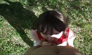 dark haired Russian beauty is gobbling a load in the POV vid
