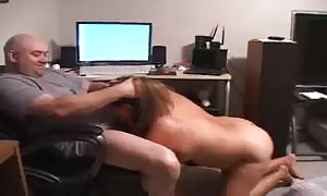 wonderful thick girl female is riding on his rigid pole in the slave trainer suite