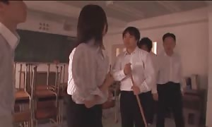 large titted chinese boss is playing in group screw with her twisted coworkers!