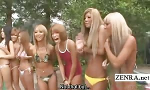 Subtitled japanese bathing suit gyaru fellatio phone freakout