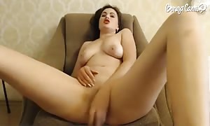young huge-titted black-haired fills out her slots with a hard toy