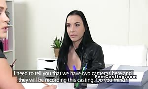 huge chested dark haired slurps woman agent on the audition sofa