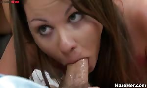 Cunnilingus right here and there on aroused porn with impressive lez babes