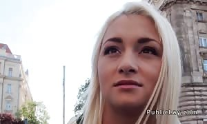 blonde deepthroating hard-on and pounding in public pov
