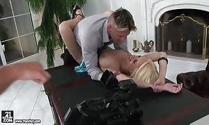 Gifted Angelina Rich explains breasts and makes a deep face screw