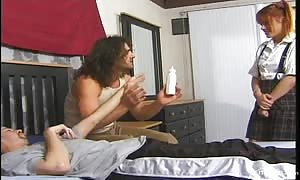 slender and hot red head nanny is being double entered