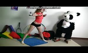 Sporty hot youngster pounds with humorous Panda