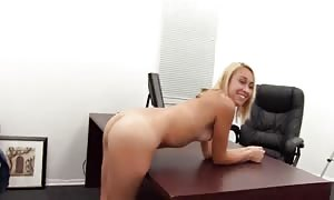 aroused fancy blonde is being banged at the audition in the turned on POV scene