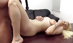 Bleached woman is having a aroused sex in the flick by Backroom audition sofa