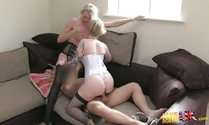 Agent is fuckin' with two punk escorts during hot audition